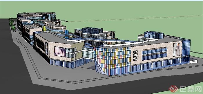 某现代风格多层临街商场商业建筑设计方案su模型