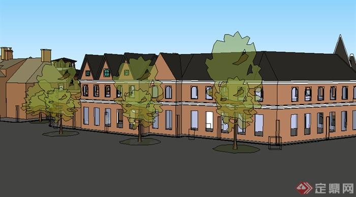 某欧式商业建筑商业街头设计SU模型素材,模型设计的比较认真,颜色搭配的也比较简洁,可以供广大建筑设计爱好者使用,也可用作同类项目参考使用。