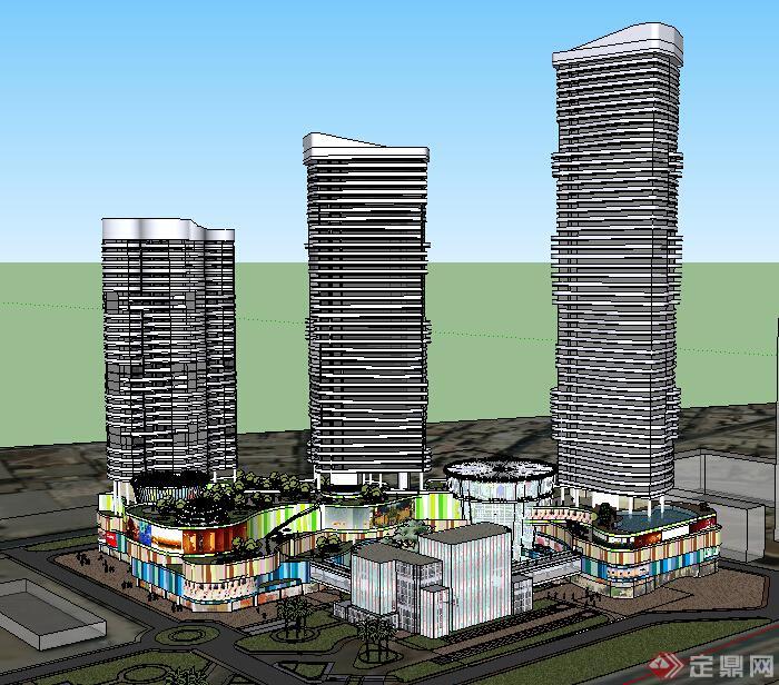 某现代风格高层商业,办公建筑设计方案su模型(含屋顶绿化)