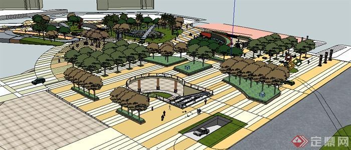 园林景观之现代小广场景观设计方案su模型