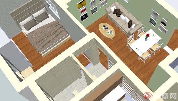 某现代住宅空间室内设计su模型素材