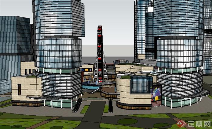 某现代商业环境商业建筑设计su模型