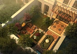 现代庭院花园别墅设计效果图psd格式,方案设计的还是比较细致的,风格图片