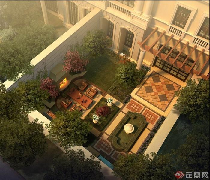 别墅平面图景观水彩渲染