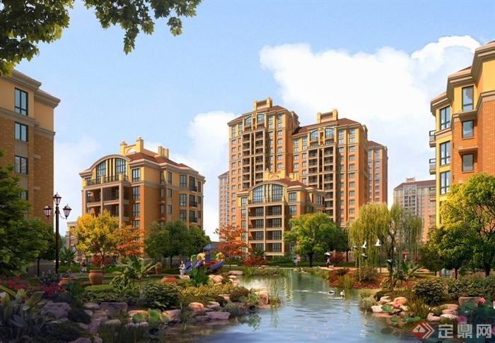 某居住区中央绿地滨水景观建筑景观效果图psd格式