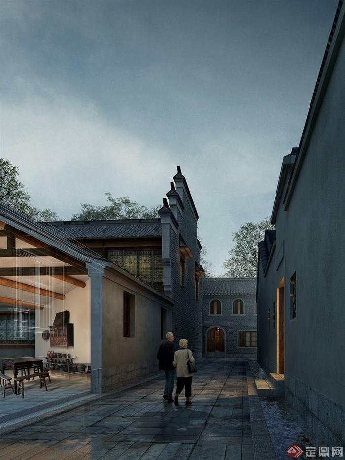 园林 景观之 古典中式住宅 巷子景观效果图 ps