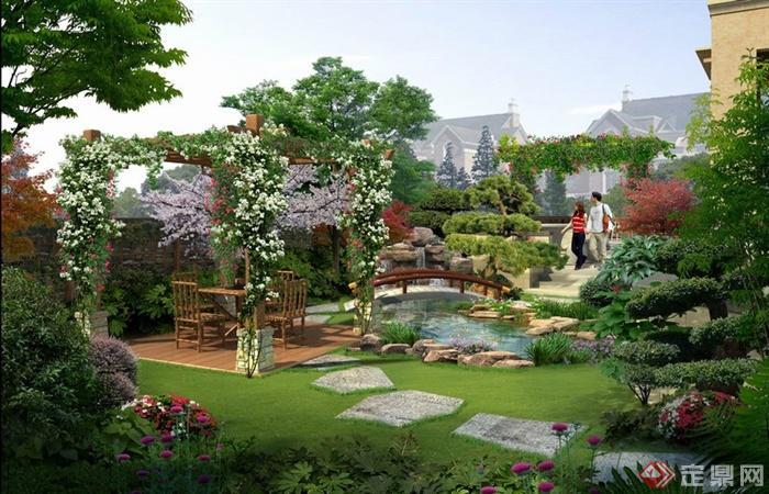 园林景观之新中式庭院花园小桥流水景观效果图