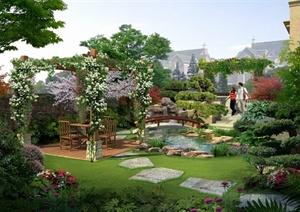 园林景观之新中式庭院花园小桥流水景观效果图(psd格式)图片