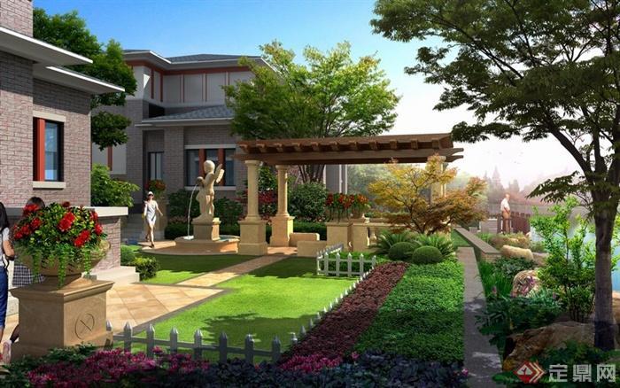 某别墅住宅入口庭院景观设计效果图psd格式