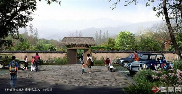 园林景观现代中式旅游景观入口效果图 PSD格式
