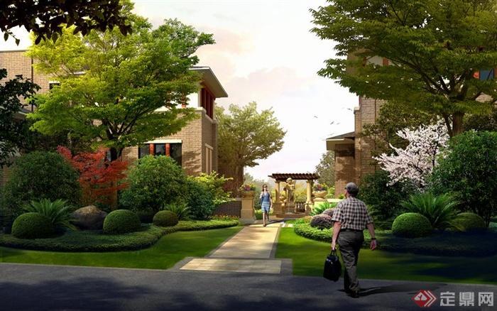 某现代居住别墅景观绿地设计效果图psd格式