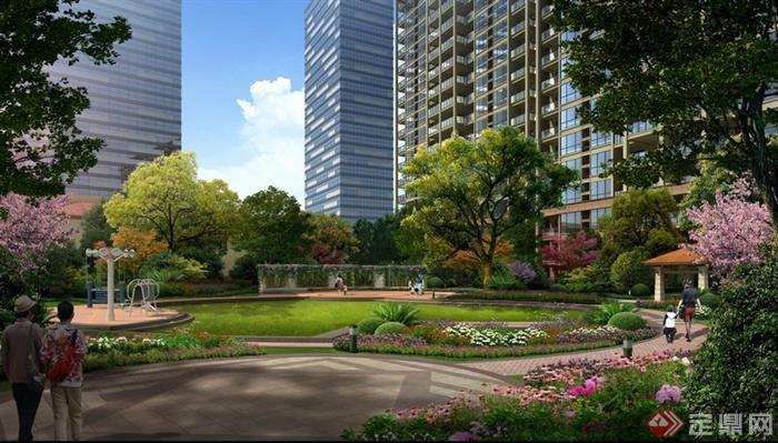 某现代居住小区中心休息区绿化景观psd格式
