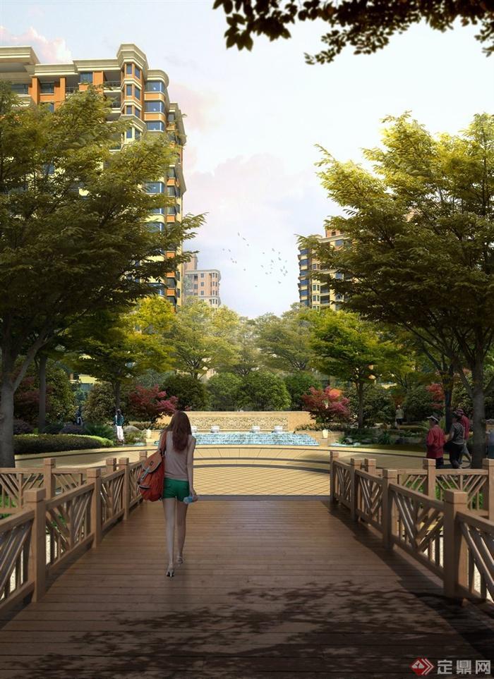 园林景观现代木栈道 水景墙景观效果图 PSD格式