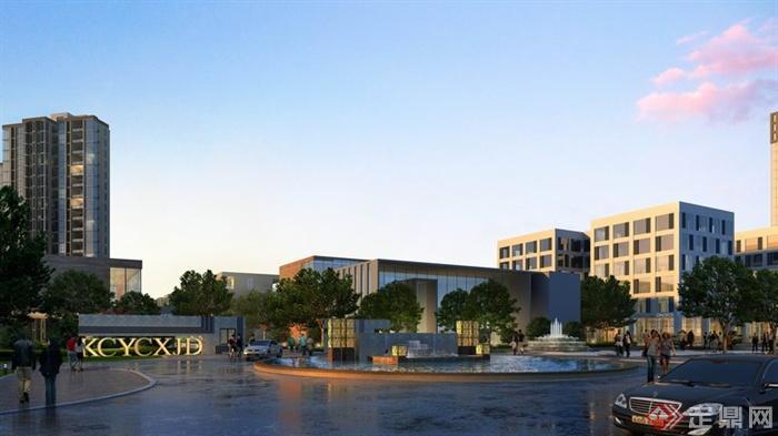 某小区入口生活广场建筑景观设计效果图psd格式