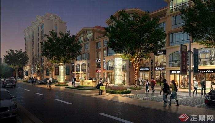 园林景观现代临街商业街夜景效果图 PSD格式高清图片