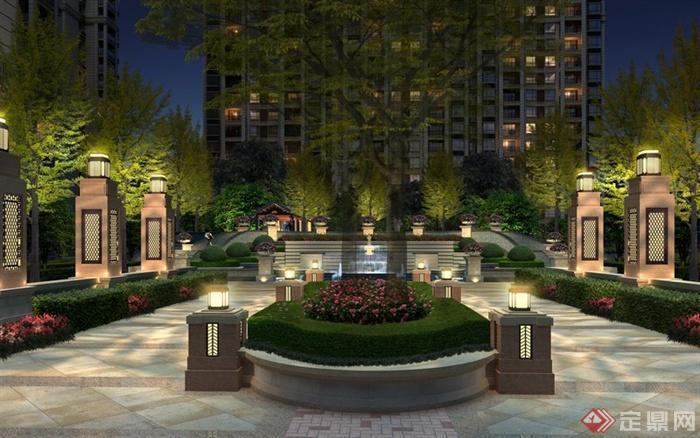 某现代住宅景观夜景入口设计效果图psd格式