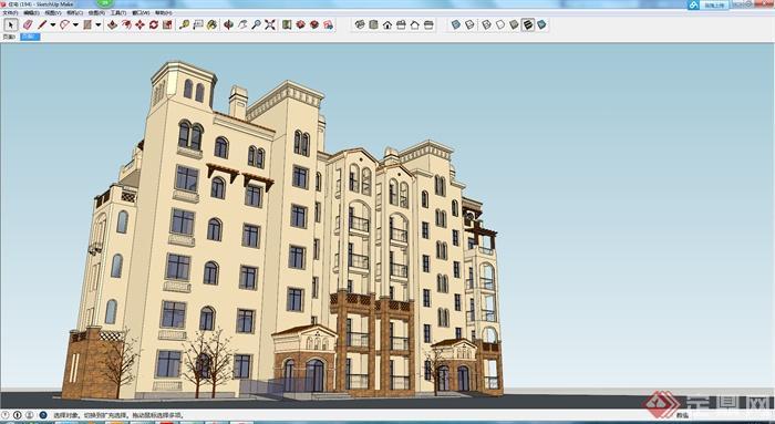某现代居住建筑楼房设计su模型素材