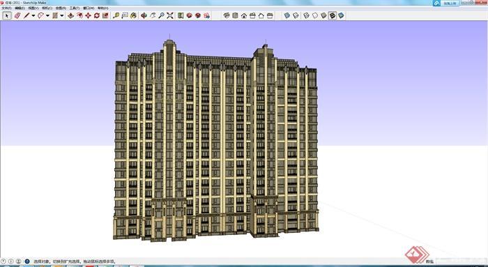 某现代居住高层建筑设计su模型素材