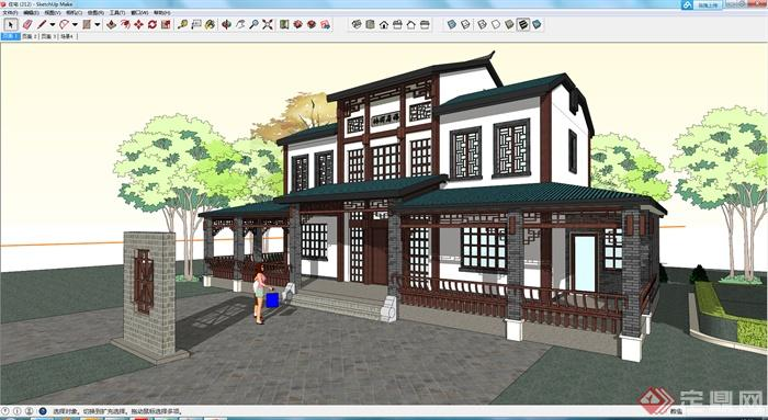 某现代中式风格居住建筑设计su模型素材