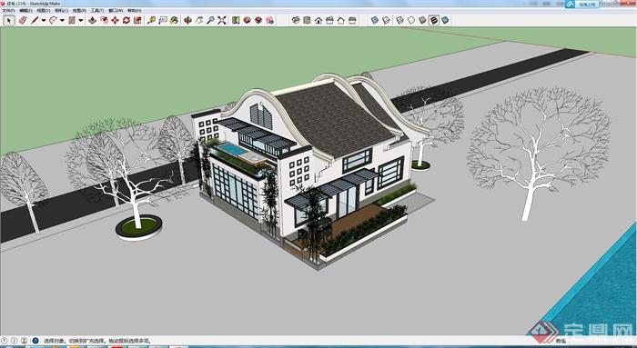某新中式别墅建筑设计su模型素材