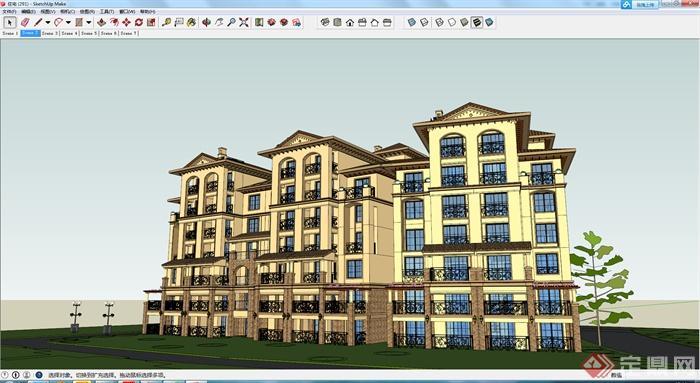 某欧式风格多层住宅建筑设计方案su模型2(1)
