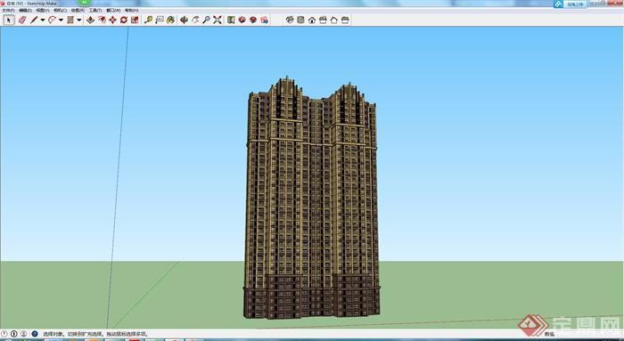 某现代风格高层住宅建筑设计方案SU模型4