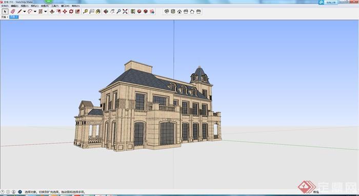 某欧式现代居住建筑设计su模型