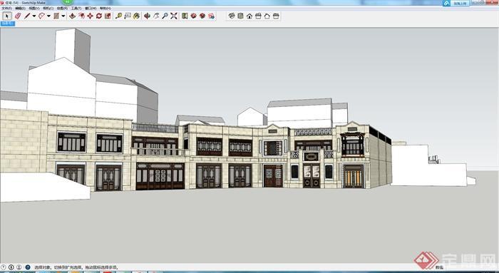 某现代中式风格多层商业建筑设计方案su模型