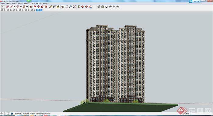 某现代风格高层住宅建筑设计方案su模型5