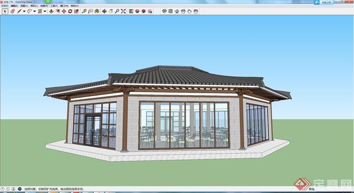 某現代中式茶館餐廳建筑設計su模型