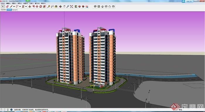 某現代風格高層住宅建筑設計方案su模型1