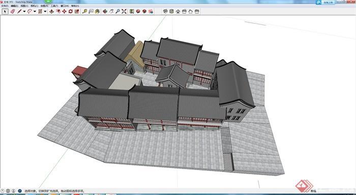某古典中式临街商铺建筑设计方案su模型