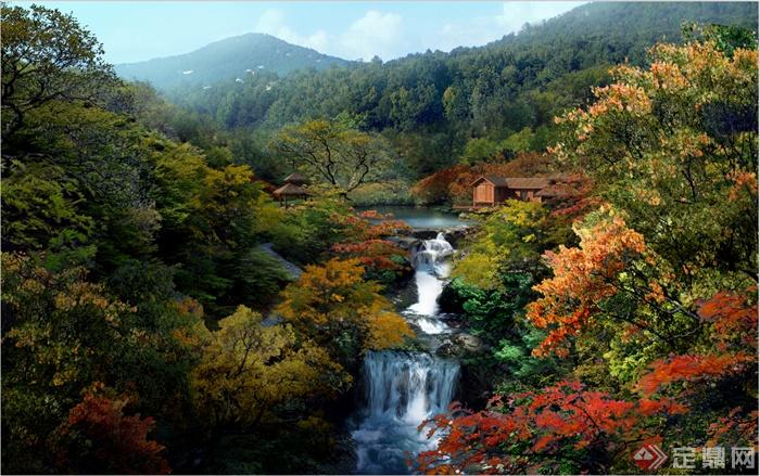 某地园林景观旅游景区瀑布景观效果图PSD格式
