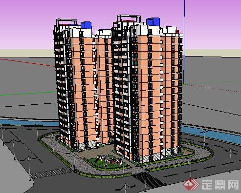 某现代风格高层住宅建筑设计方案su模型,该模型设计精美细