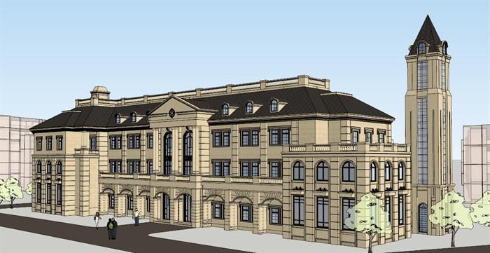 某欧式风格会所建筑设计方案su模型[原创]