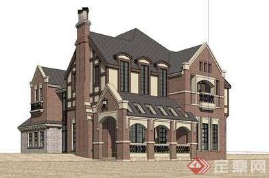 某欧式风格建筑居住建筑su模型素材