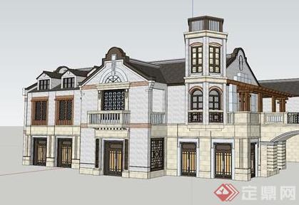 某欧式小型居住建筑设计su模型素材