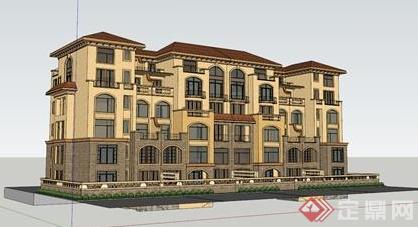 某简欧风格多层居住建筑设计su模型素材