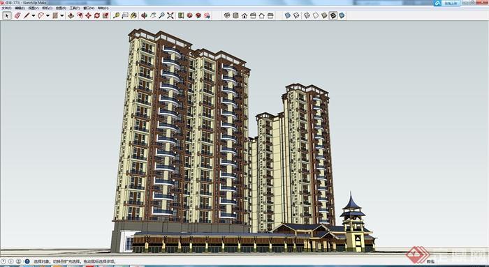 某欧式住宅楼建筑设计su模型(带塔楼设计)