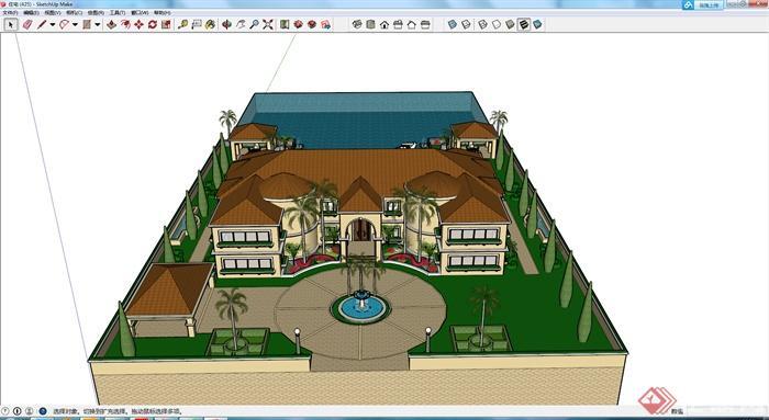 某欧式双层别墅建筑设计su模型
