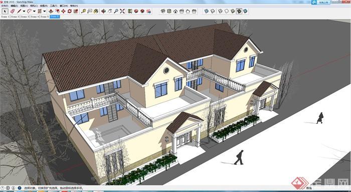 某地中海式双拼住宅建筑设计su模型
