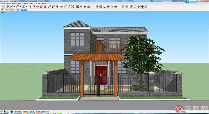 某独栋现代中式别墅设计建筑设计su模型