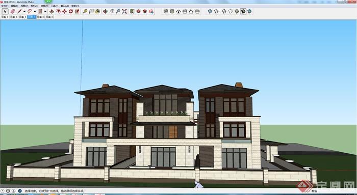 某现代风格住宅建筑设计方案su模型8