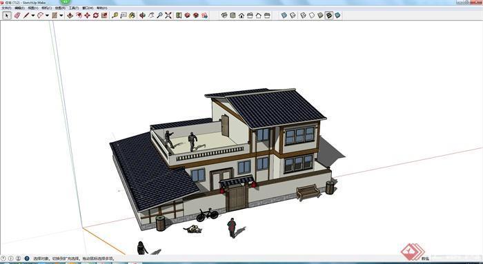 某现代中式风格民居住宅楼建筑设计su模型图片