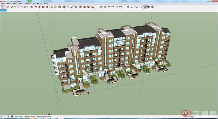 现代住宅建筑设计su模型