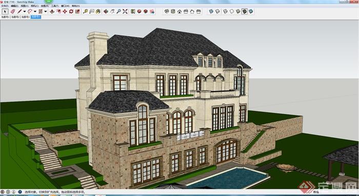 某独栋欧式别墅设计建筑设计su模型
