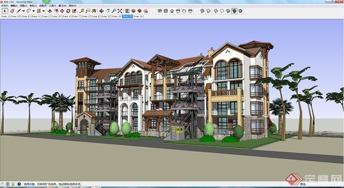某简欧联排别墅设计建筑设计su模型