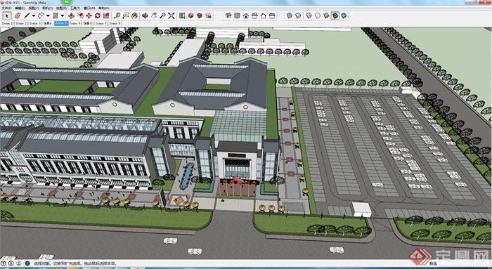 某新中式商业建筑设计su模型,模型制作精细,细节处理到位,沿街商业