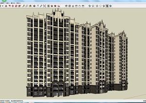 某现代小高层住宅建筑设计方案su(草图大师)模型图片