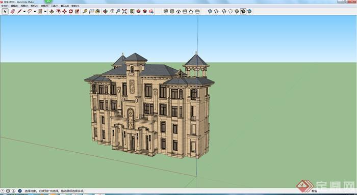 某现代欧式居住建筑楼参考SU模型,模型设计的比较认真,颜色搭配的也比较简洁,可以供广大建筑设计爱好者使用,也可用作同类项目参考使用。